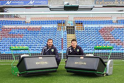Head Groundsman at Turf Moor, Paul Bradshaw, maintains the pitch with the help of two Dennis G860 professional mowers complete with a range of interch