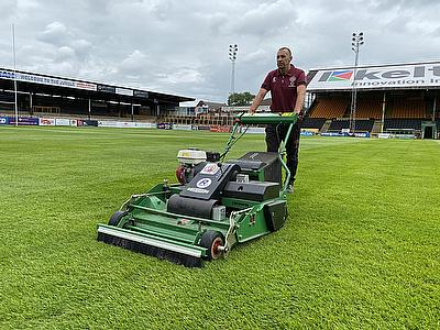 Dennis PRO 34R is ideal for maintaining a rugby league playing surface