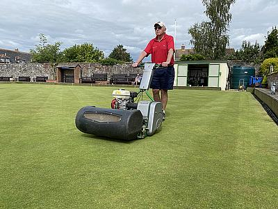 The Dennis Razor Ultra helping to maintain the green at Topsham Bowls Club